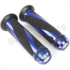 "Blue CNC Aluminum Handle Bar Cap Plug Rubber Gel Hand Grips For 7/8"" Motorcycle"