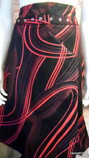 stunning designer black red stretch cotton wrap assym skirt 14 new tag Suki