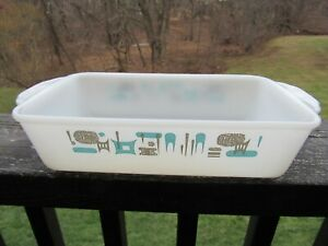 Fire King Blue Heaven Atomic Anchor Hocking Bread Loaf Pan from 70's. 10,5x 5,5""