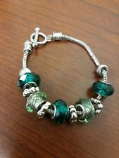 Silver Toned Green Glass Beads Bracelet Toggle Closure