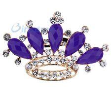 Costful Full Rhinestone Purple Princess Gold Plated Crown Crystal Pin Brooch