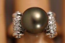 HEAVY 18K WHITE GOLD 10MM TAHITIAN BLACK PEARL DIAMOND ART DECO RING SZ 6.5 9G