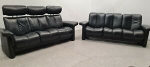 Ekornes Stressless  3 & 2 seater recliner leather sofas Black  2708211