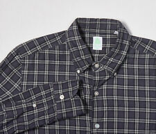 Mens FINAMORE NAPOLI Shirt M in Navy Blue, Ivory White Plaid Button-Down Cotton