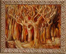Peinture datée 1957 Abstrait monogramme AW Forêt Arbres
