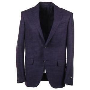 Ermenegildo Zegna Blue Soft-Woven Check Wool-Silk Sport Coat Slim 46R (Eu 56)