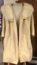 vintage SAKS FIFTH AVENUE FULL LENGTH WOMEN'S COAT w/FUR COLLAR wow CREAM COLOR