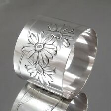 Antique French Sterling Silver Napkin Ring Daisies, Hallmark Minerve 1, Lefebvre