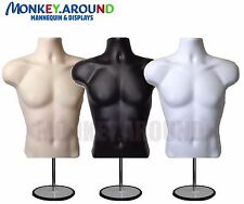 DISPLAY CLOTHING MANNEQUIN - MALE WHITE BLACK FLESH DRESS BODY FORM,3 STAND+HOOK