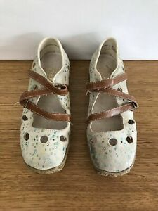 ☘️Womens Rieker Antistress Suede Leather Print Shoes Strap Clogs Flats Size 37 6