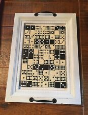 """Wood Serving Tray - Handcrafted Domino Surface Area 17"""" x 12.5""""  New White/Black"""