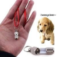 2X/set Anti-Lost Pet Dog Cat Puppy ID Address Name Label Tag Barrel Tube Collar