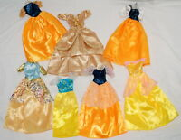 Doll Clothes Lot for Barbie and Fashion Dolls Fancy Dresses Gowns Yellow Tan