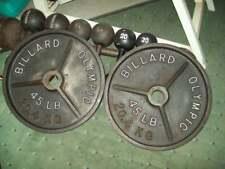 vtg RARE BILLARD BARBELL DEEP DISH OLYMPIC 45s York bodybuilding FITNESS Gym abs