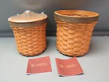 2008 Longaberger Medium & Large Crock Basket Combo w/ Lid