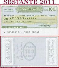 BANCA CATTOLICA DEL VENETO Lire 100 29.12. 1976 AUTOMOBILE CLUB TRIESTE  B151