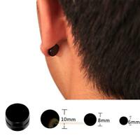 2pcs Titanium Steel Mens Women Round Magnetic Clip on Stud Earrings Gifts Date