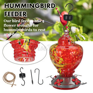 Hummingbird Feeder 4-Trough Tree Hanging Outdoor Garden Yard Colorful Glass US