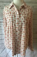 Style and Co Small Oversize Button Down White Orange Print