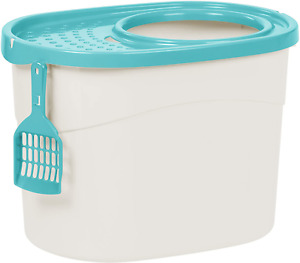 IRIS USA Tecl-20 Top Entry Cat Litter Box With Scoop, White/Seafoam, Large
