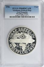 1986 Germany 5 oz Silver Medal Graf Zeppelin Weltflug Airship PCGS Proof-68 DCAM