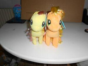 "My Little Pony --FLUTTERSHY + APPLEJACK--7""---NEW---2 PONIES--PLUSH"