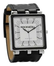 NEW IN BOX Mens Rockwell CARBON FIBER LEATHER Wrist Watch WHITE SILVER CF-101