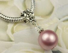 Powder Rose Crystal Pearl Dangle Charm Bead European Style w Swarovski Elements
