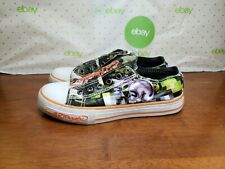 Ed Hardy Men's Canvas Skull Black Green Lace-less Sneakers Size US 5