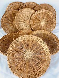 2 Vintage Paper Plate Holders Woven Wicker Boho Rattan Bamboo Wall Decor Baskets