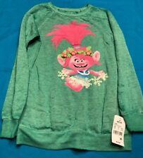 New Girls Trolls Movie Poppy With Snowflakes T-Shirt Green Long Sleeve M 7/8
