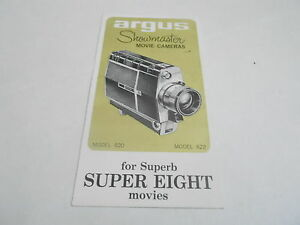 1950s/1960s MOVIE CAMERA manual #37 - ARGUS SHOWMASTER SUPER EIGHT