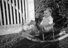 2 x negativ-1931-cute Young boy-horse-schaukelpferd-junge