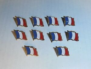 Wholesale Lot of 10 France Flag Lapel Pin, Brass Finish, BRAND NEW