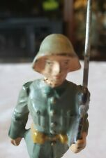 "VINTAGE COMPOSITE LINEOL GERMAN MILITARY TOY FIGURE MARCHING RIFLEMEN 3 1/4""Tall"