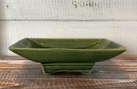 Vintage Mid Century McCoy Green Glazed Footed Planter #1802