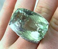 Huge 18k White Gold 42.6ct Natural Green Beryl Aquamarine Diamond Ring 22.7g