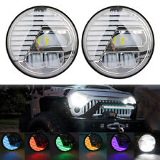 "2x 7"" LED Hi/Lo Headlight Halo RGB Hi/Lo Bluetooth App For Jeep Wrangler Hummer"