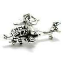 Apache Helicopter Charm 925 Sterling Silver Military