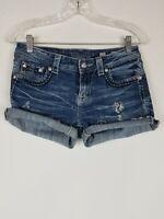 Miss Me Womens Denim Distressed Cut Off Jean Shorts Size 27 Embellished