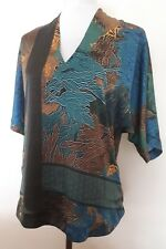 River Island Ladies Size 8 Blue Olive Green Floral Kaftan Tunic Top Autumn Wear