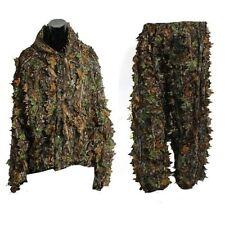 3D Leaf Adults Ghillie Suit Woodland Camo/Camouflage Hunting Deer Stalking L8N0