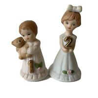 Vintage Two Enesco Growing Up Birthday Girls Age 1 Age 2 Bisque Figurines 1982