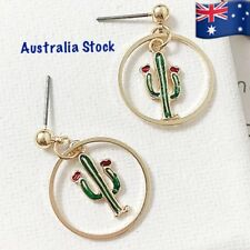 (Australia Stock)Cute Realistic Green Enamel Gold Plated Cactus Dangle Earring