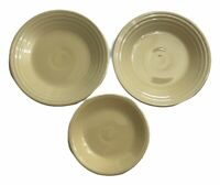 """2 P86 Fiestaware Ivory 9"""" Luncheon Plates & HLC Fiesta 7.5"""" Salad Lot of 3 USA"""