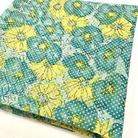 Vintage Flocked Floral Daisy Dotted Swiss Fabric Material Flowers Blue Yellow