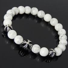 Men's Women White Howlite Sterling Silver Cross Beads Bracelet DIY-KAREN 744