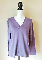 J Jill Womens Sweater Top Ribbed Cotton V-neck Long Sleeve Plum Size Xtra Large