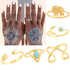 7Pcs Cruz Flecha Nudillo Anillos Turquesa Knuckle Dedo Anillo Ring