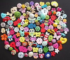 100 Quality Resin Wooden Assorted Buttons,